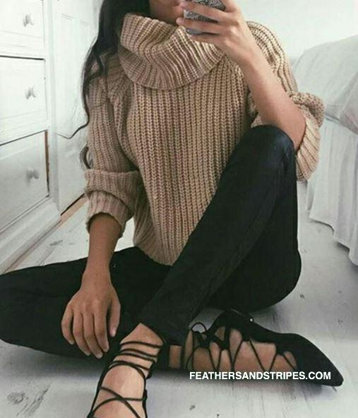 Lace up flats and cozy sweater