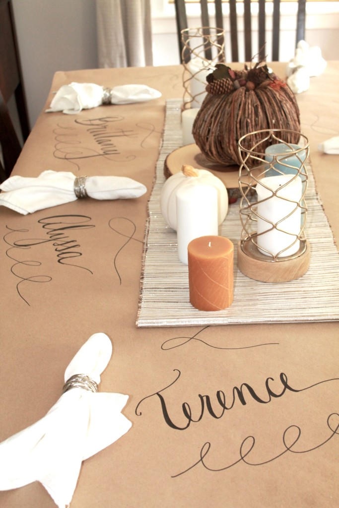 setting a Thanksgiving table & Easy Table Centerpieces - Feathers and Stripes