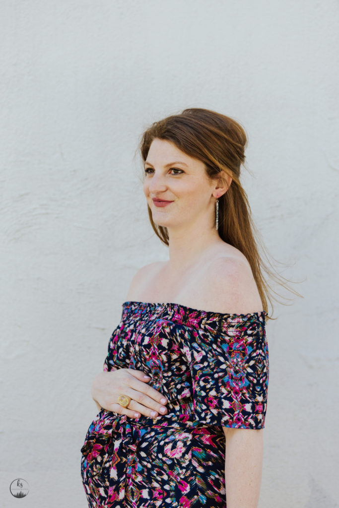 multicolored off the shoulder dress (maternity)