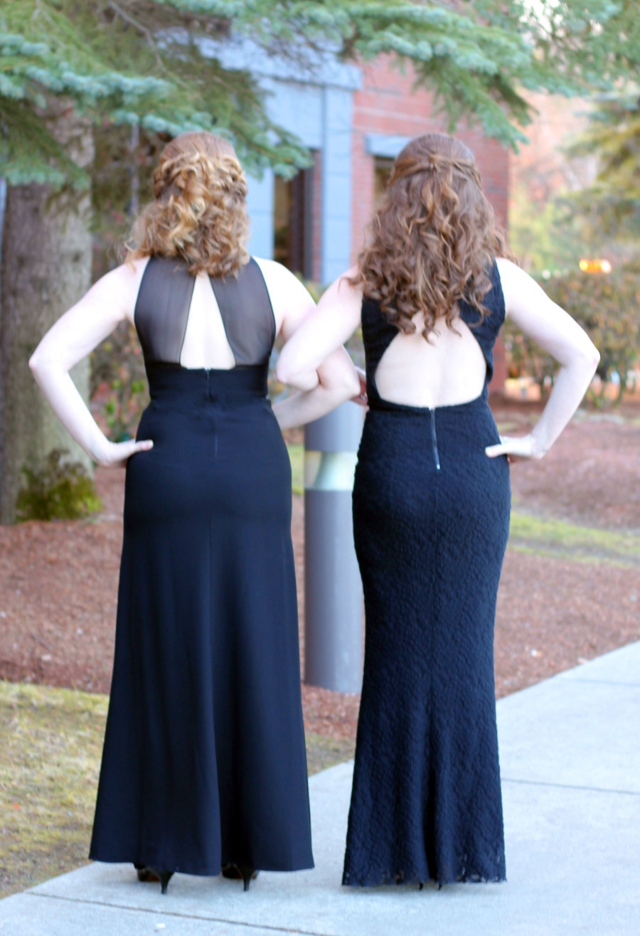 Black open back long dress