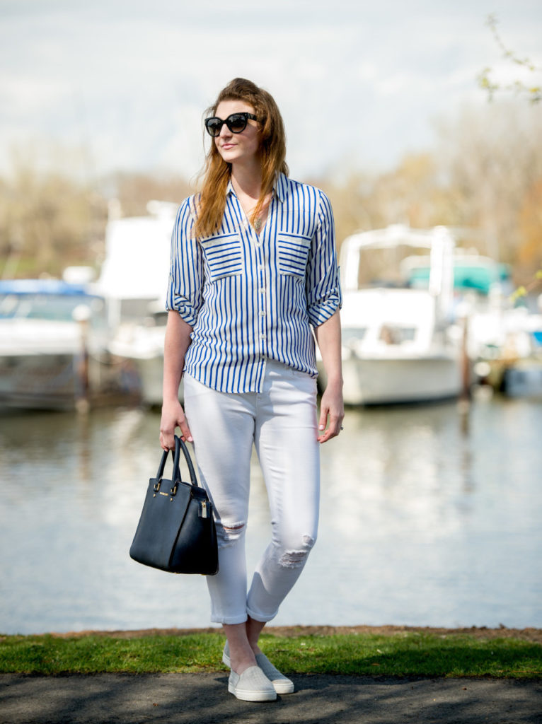 blue and white stripes, white pants
