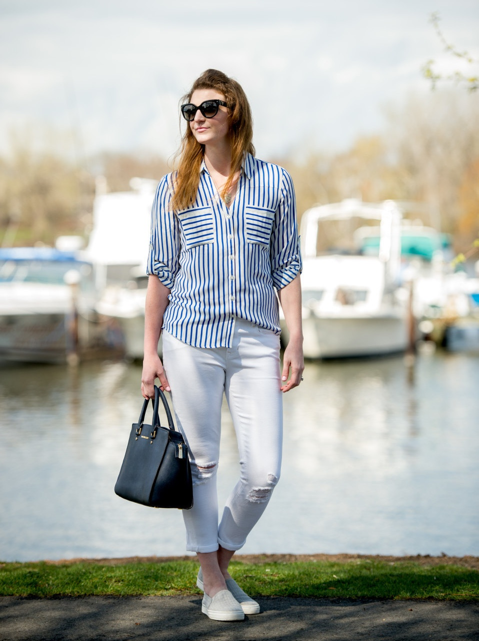 blue and white stripes, white pants About popular Boston lifestyle and mom blogger, Feathers & Stripes