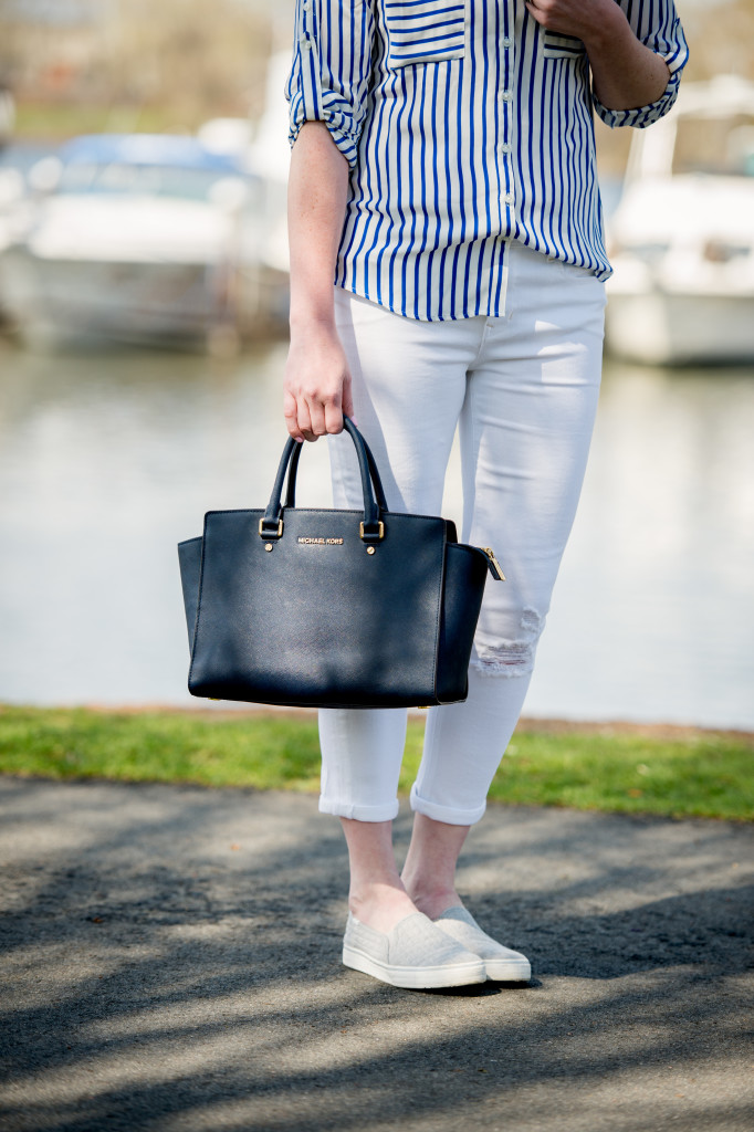 nautical stripes and navy Michael Kors handbag