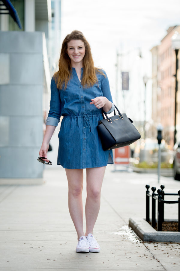 chambray-dress-3 | About popular Boston lifestyle and mom blogger, Feathers & Stripes