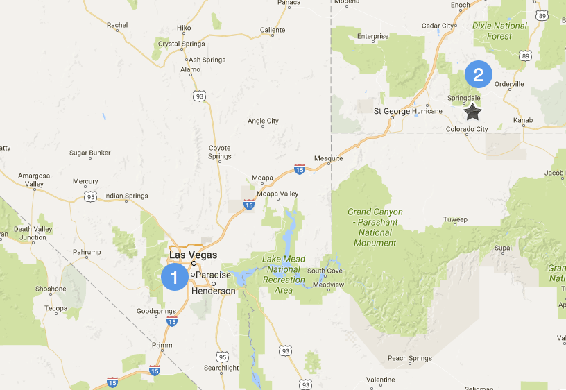map showing Las Vegas to Springdale, Utah (Zion National Park)