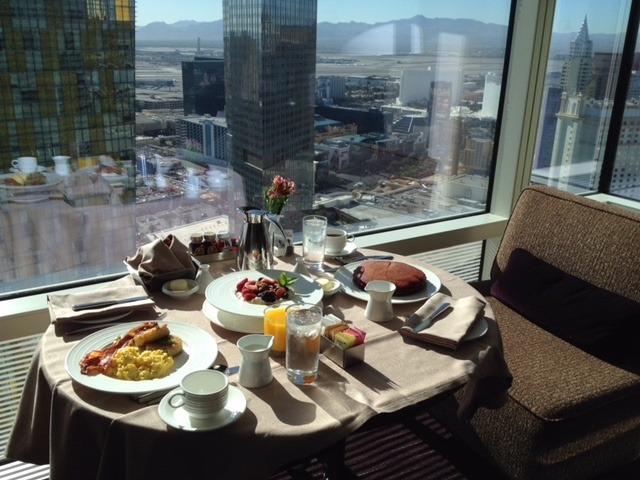 Aria room service in Las Vegas (red velvet pancakes!!!) featured by top Boston travel blog, Feathers and Stripes