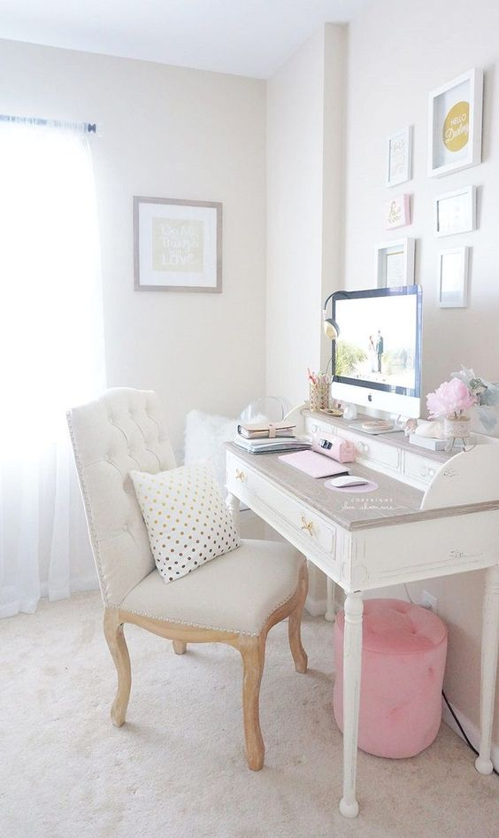 white desk, home office