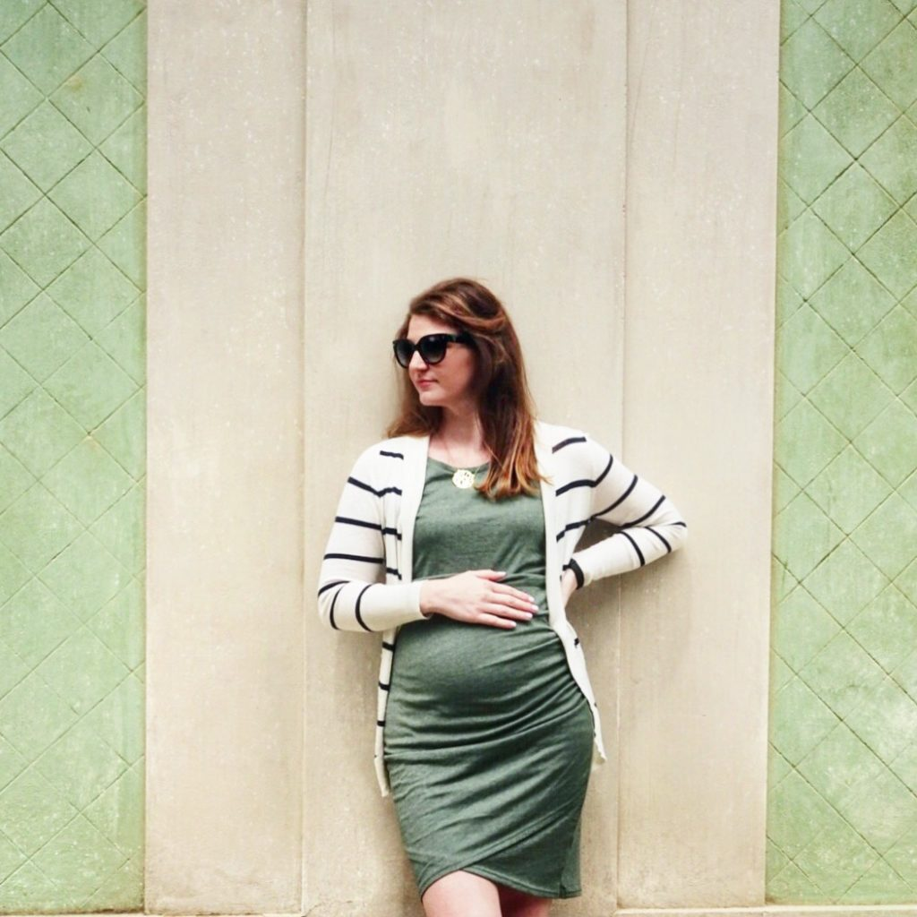 non-maternity ruched dress | Maternity Clothes Essentials featured by top Boston life and style blog, Feathers and Stripes