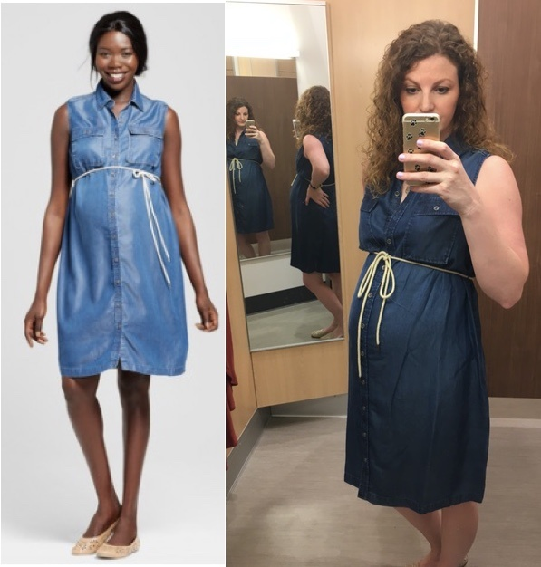 chambray maternity dress