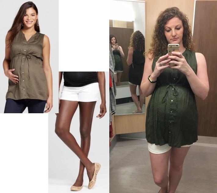 best white maternity shorts