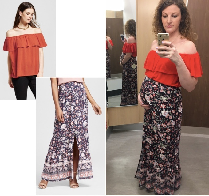 navy printed maxi skirt and orange off the shoulder top Target