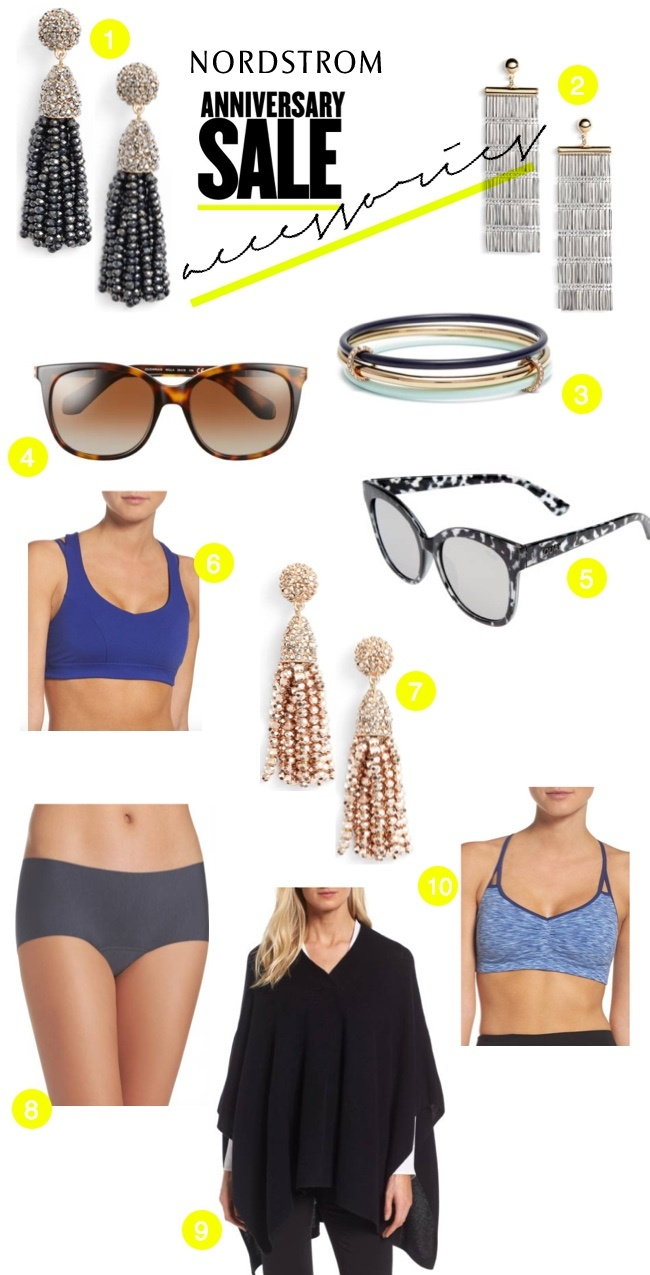 Nordstrom Anniversary Sale 2017 accessories: earrings, sports bras, sunglasses