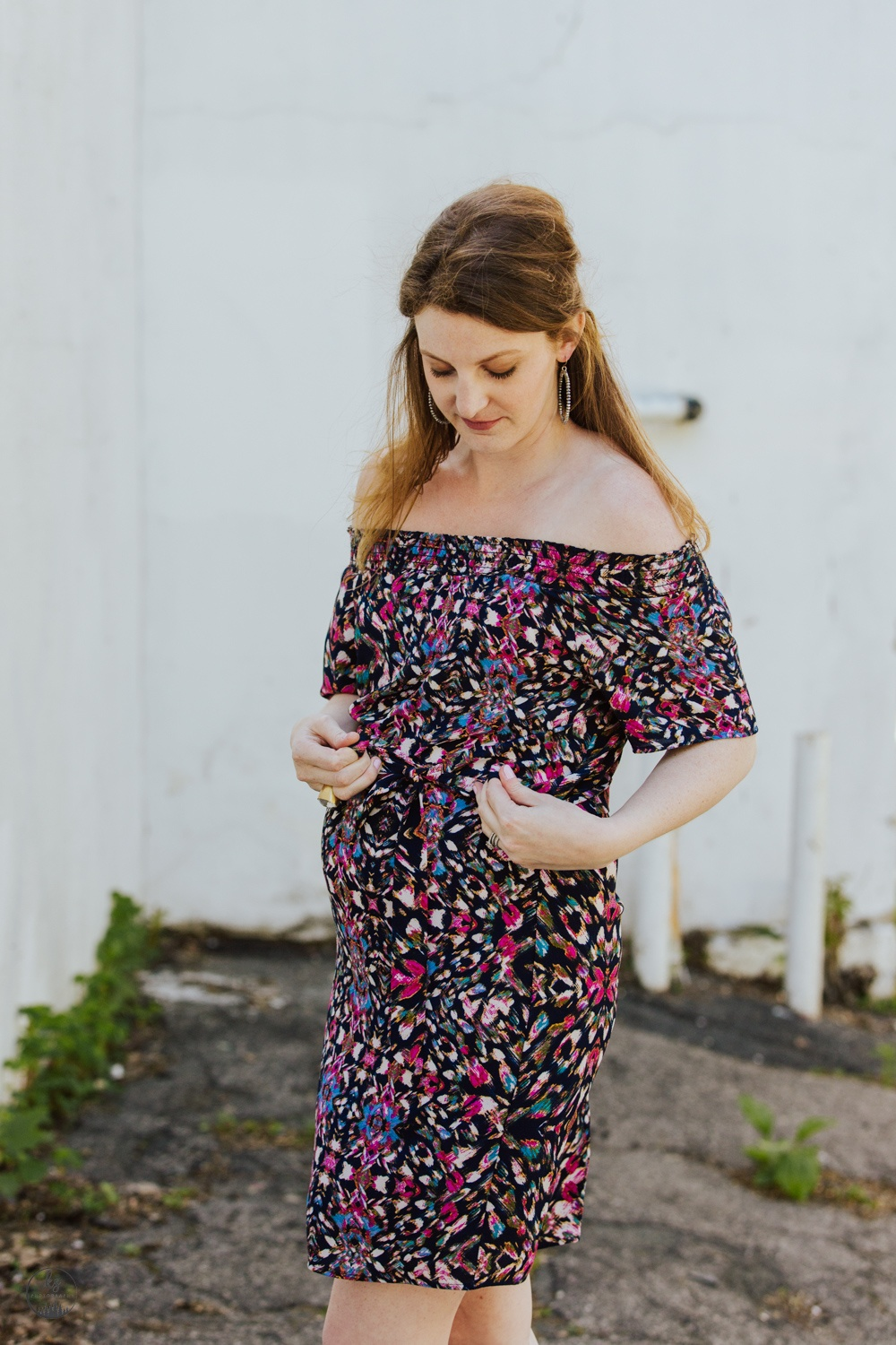 floral multicolored off the shoulder dress (maternity)