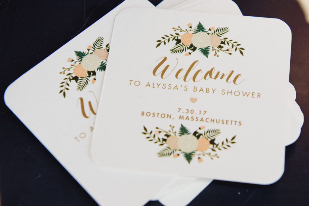 Boston baby shower custom floral coasters | Baby Shower in Boston featured by top Boston lifestyle blog, Feathers and Stripes