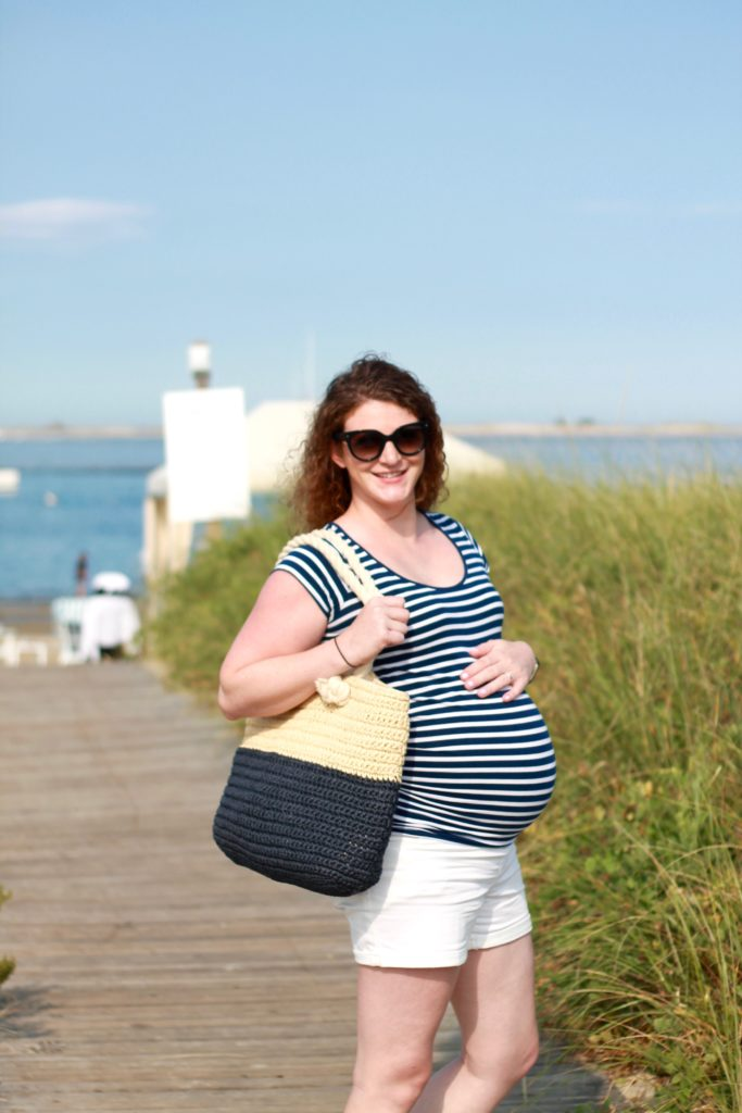 white shorts and navy maternity striped shirt on Cape Cod, Chatham Bars Inn