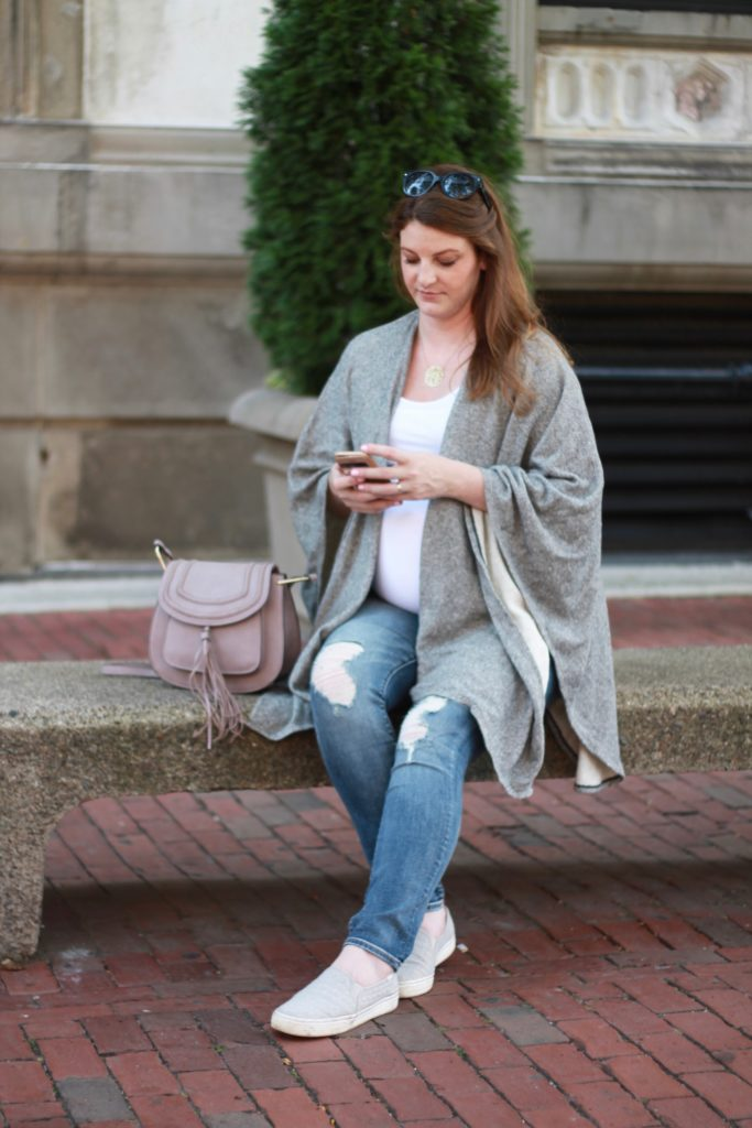 Ingrid & Isabel maternity wrap sweater, best maternity jeans