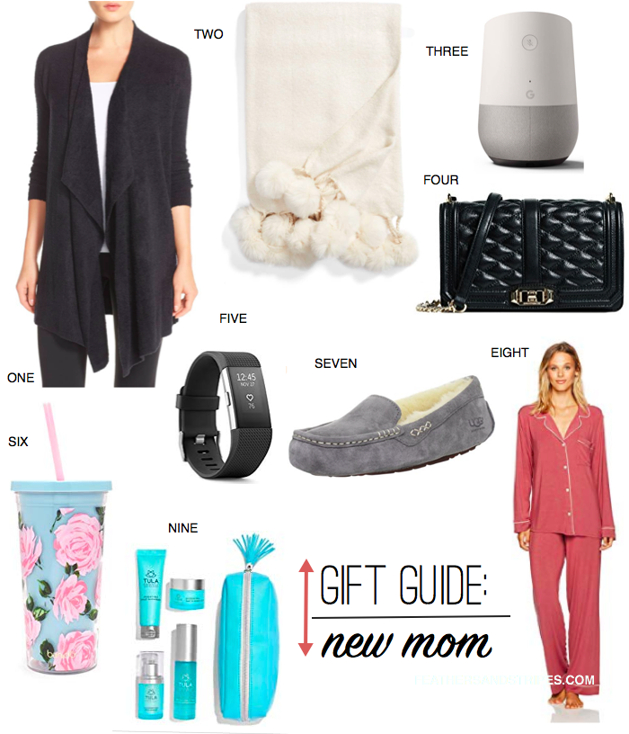 the best gifts for a new mom, from cozy pajamas to a fitness tracker and everything in between! gift guide from mom and lifestyle blogger feathersandstripes.com