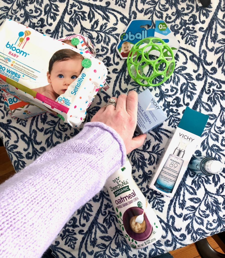 new mom products: sensitive wipes, Oball, Vichy skin care, Beechnut cereal