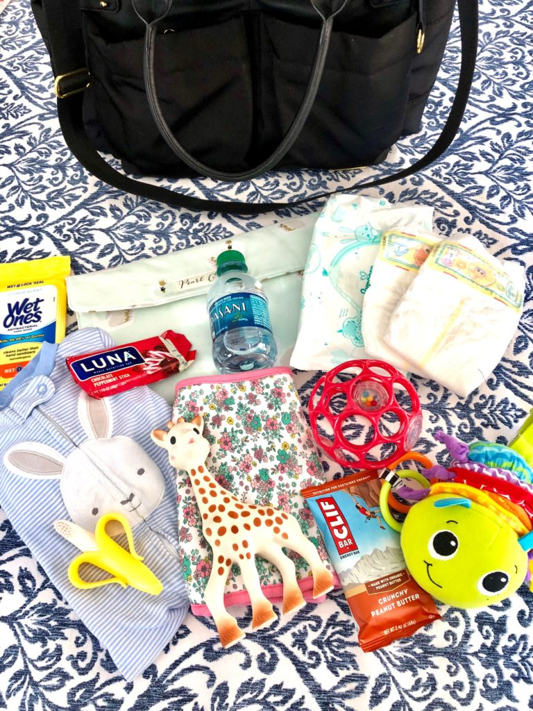 what to carry in a diaper bag for a 6 month old baby bag | Diaper Bag Essentials featured by popular Boston life and style blogger, Feathers and Stripes