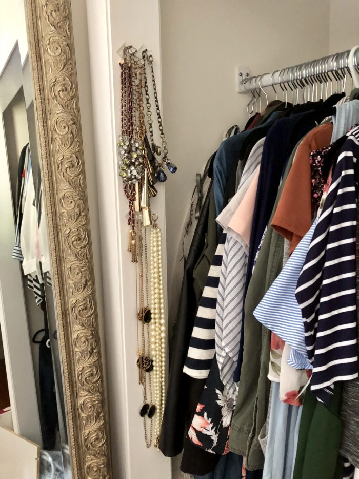 jewelry hangers for closet organization (and they cost less than $7 for a set of 2!) | Favorite Recent Purchases featured by top Boston life and style blog, Feathers and Stripes