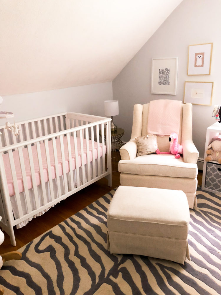 baby girl nursery, small space nursery, pink and white nursery