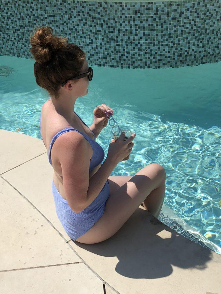 blue high-waisted bikini