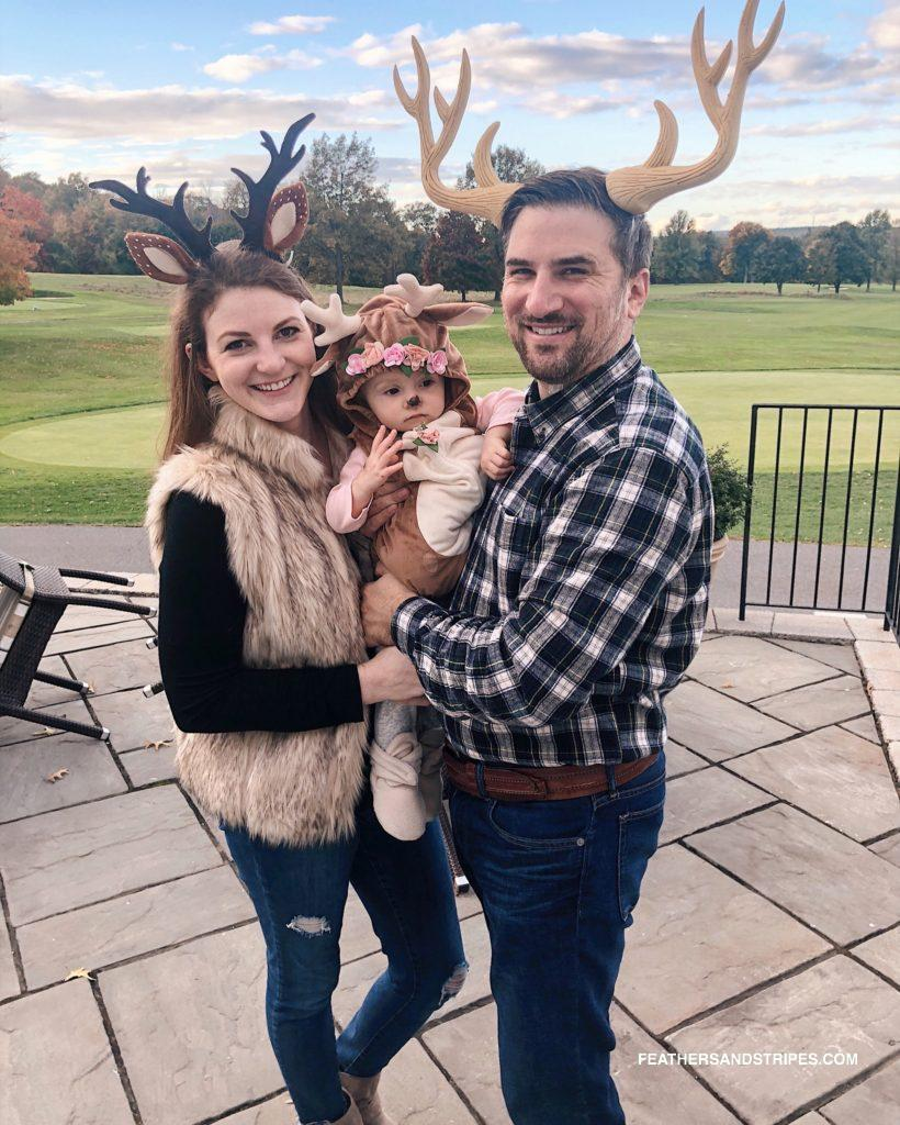 easy family Halloween costume - family of deer |  DIY Family Halloween Costume featured by top Boston lifestyle blog Feathers and Stripes