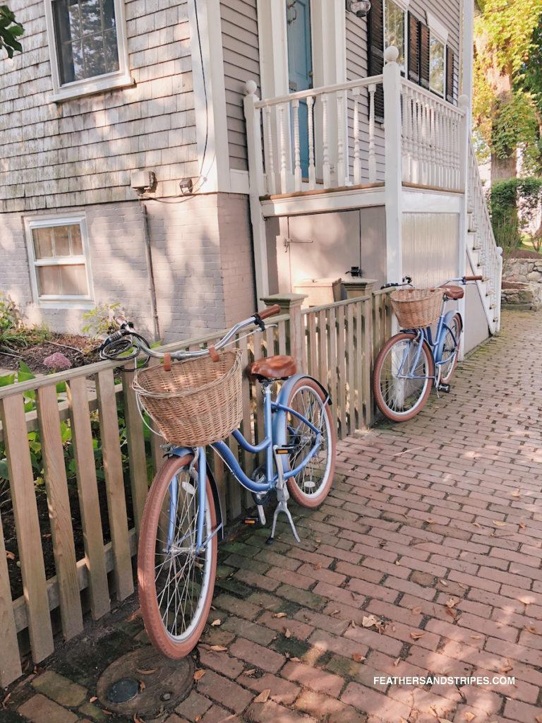 renting bikes on Nantucket is a great way to get around the island when you don't have a car on Nantucket!  | #Nantucket | #travelblogger | feathersandstripes.com | Nantucket in the Fall: the Ultimate Travel Guide featured by top Boston travel blog Feathers and Stripes
