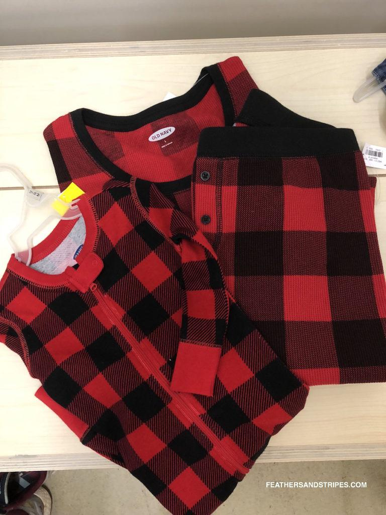 matching family pajamas at Old Navy: buffalo plaid thermal pjs - Current Favorite Old Navy Deals featured by top Boston Style Blog, Feathers and Stripes