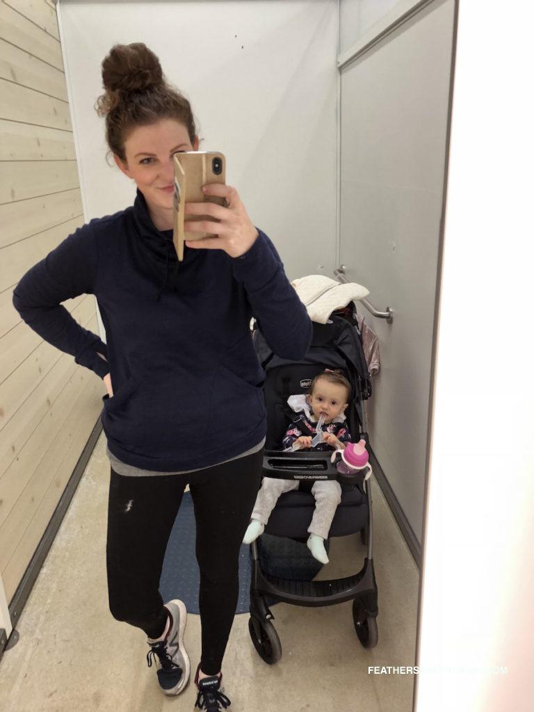 Old Navy workout gear and my favorite pullover for running errands - Current Favorite Old Navy Deals featured by top Boston Style Blog, Feathers and Stripes