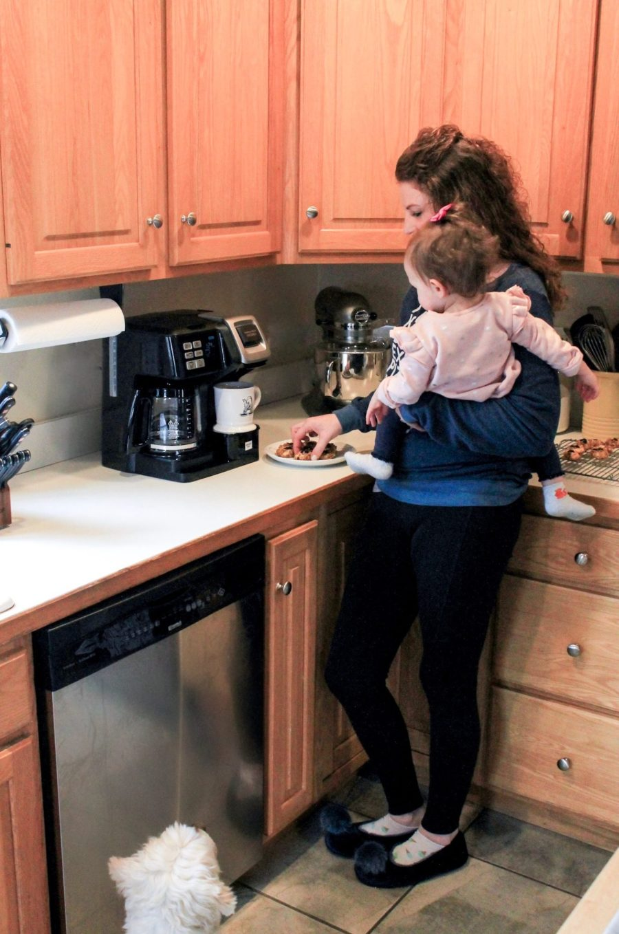 mom and baby, coffee maker