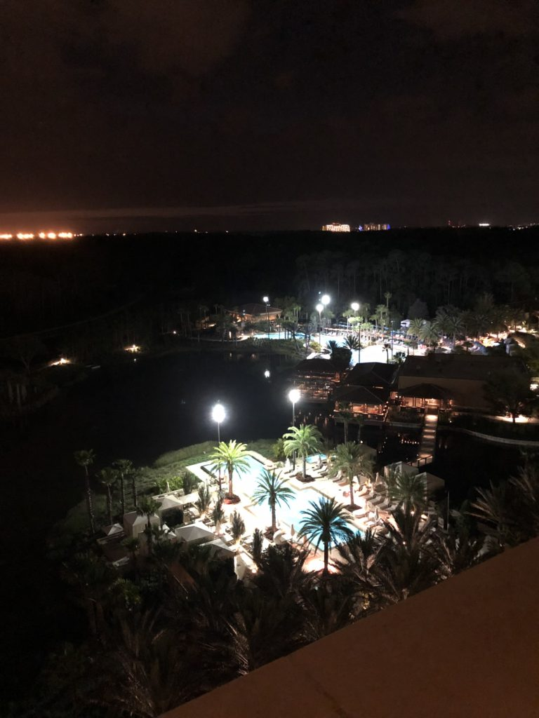 night time view from park view suite at Four Seasons Orlando