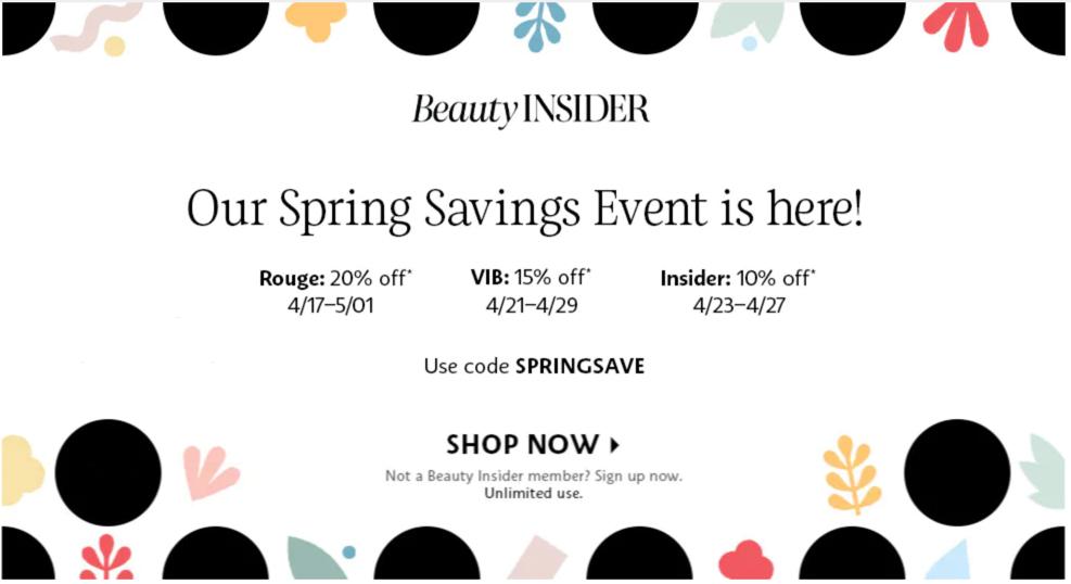 Sephora Sale spring 2020 calendar