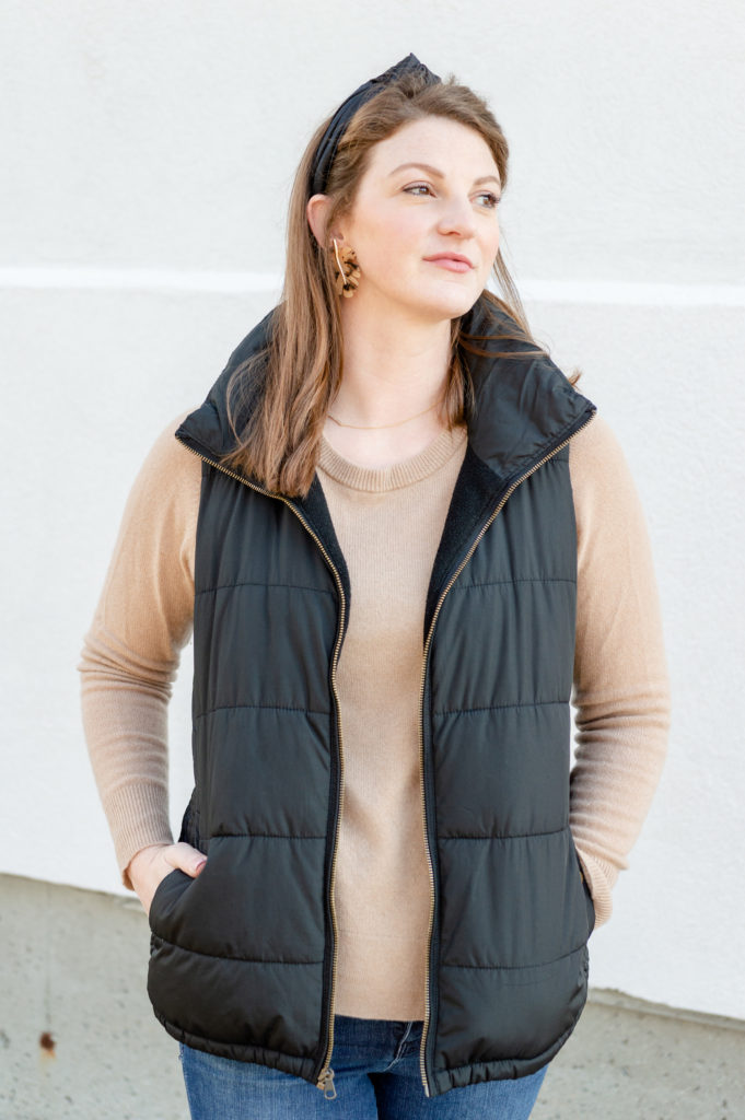 A comfortable and classic camel and black outfit from New England blogger Alyssa from feathersandstripes.com