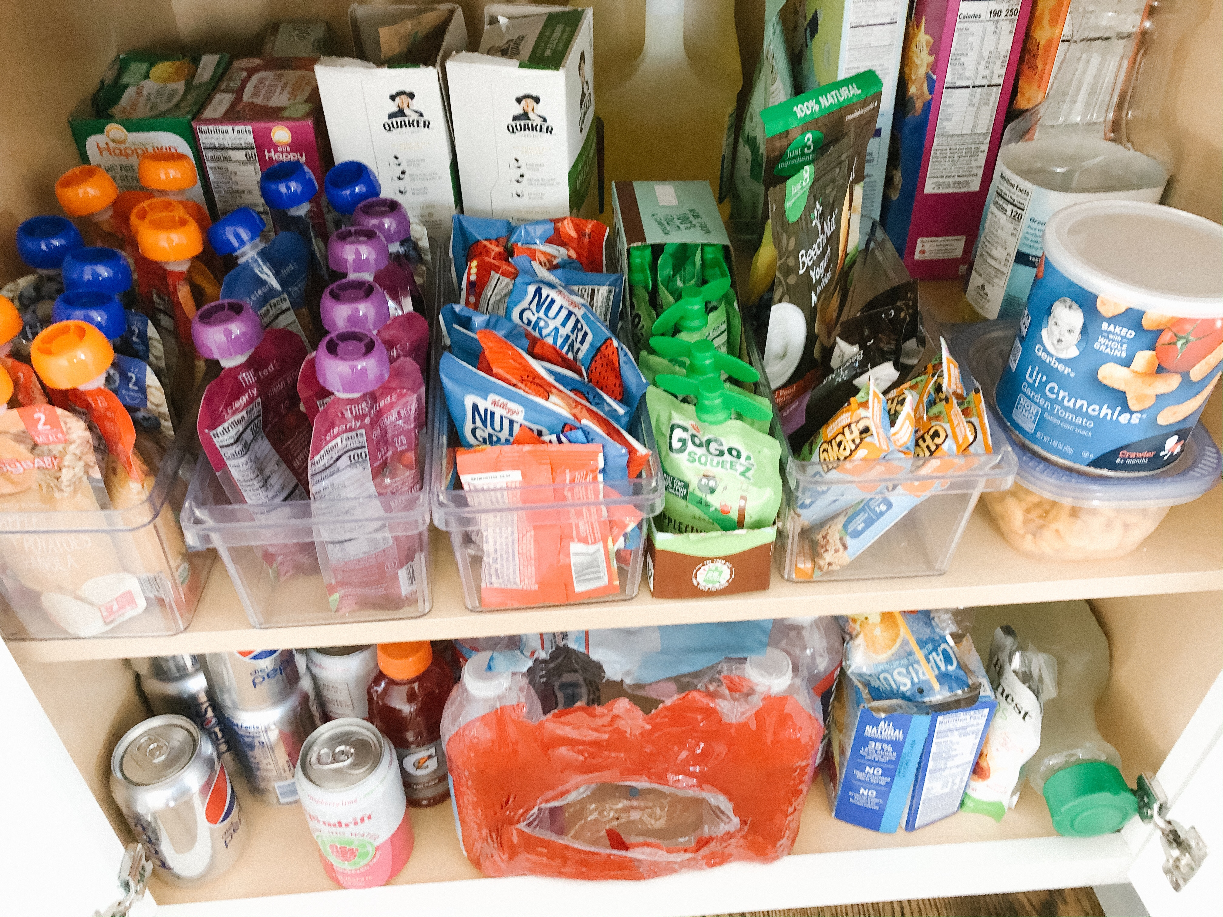 pantry organization toddler snacks shelf