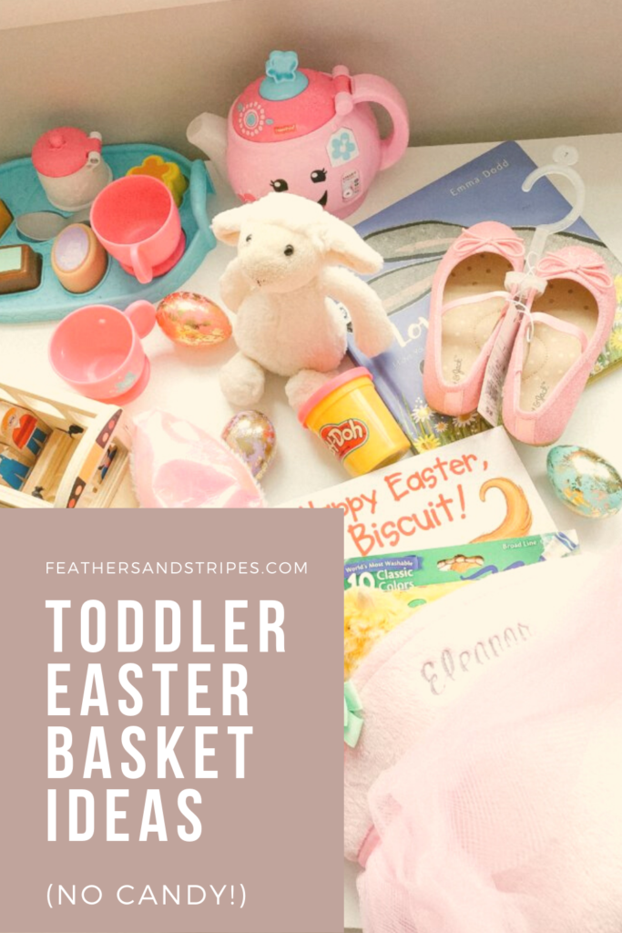 Easter basket ideas for toddlers, toddler toys, Easter basket, markers, play tea set