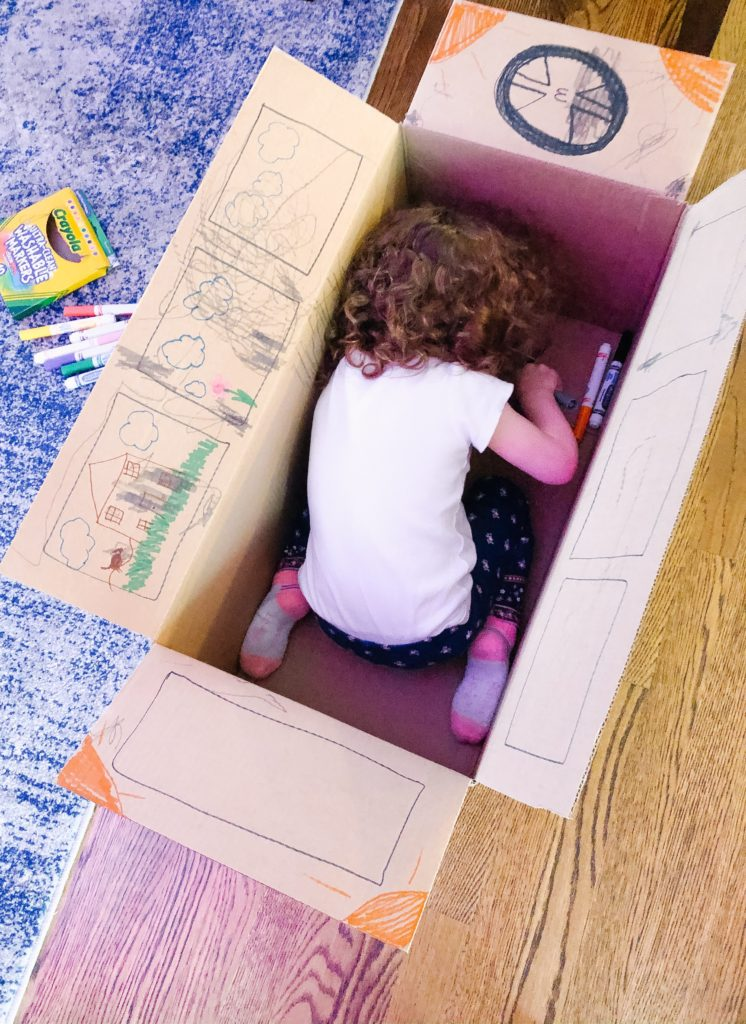 fun toddler drawing with a cardboard box - and other activities you can do at home!